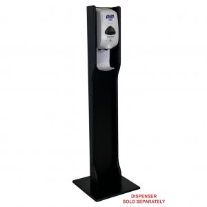 DMD Hand Sanitizer Dispenser Elegant Floor Stand, Black Wood Finish