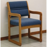 Reception and Waiting Room Chair - Medium Oak - Powder Blue