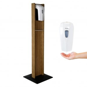 DMD Hand Sanitizer Dispenser Floor Stand, Medium Oak Wood Finish with Automatic Dispenser
