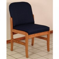 Office Waiting Room Armless Guest Chair - Medium Oak - Arch Blue