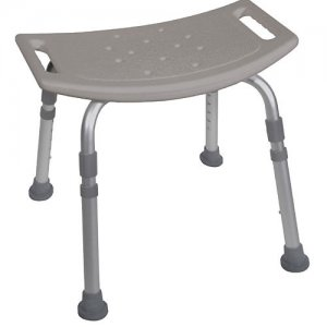 Bath and Shower Seat / Chair without Back - Aluminum Deluxe - White