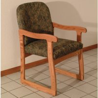 Office Waiting Room Guest Chair - Medium Oak - Watercolor Green