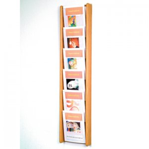 6 Pocket Oak and Acrylic Literature Wall Display Rack - Light Oak