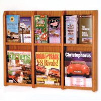 6 Magazine/12 Brochure Wall Display with Brochure Inserts - Medium Oak
