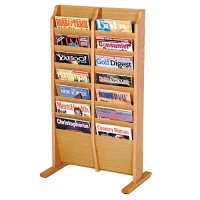 14 Pocket Wooden Floor / Display Magazine or Literature Rack