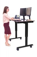 "48"" Electric Standing Desk with Black Frame and Dark Walnut Desktop"