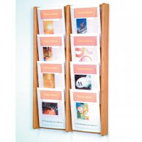 8 Pocket Oak and Acrylic Literature Wall Display Rack - Light Oak