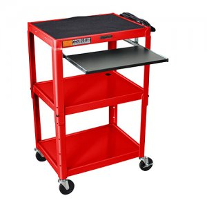Red Adjustable Audio Visual (AV) Utility Cart: Keyboard Drawer / Shelf