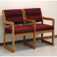 Reception and Waiting Room Two Seat Chair w/Center Arms - Medium Oak - Cabern