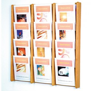 12 Pocket Solid Light Oak and Acrylic Literature Wall Display Rack