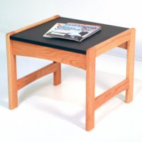 End Table w/ Black Granite Look Top - Light Oak