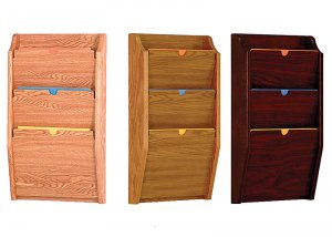 HIPAA Compliant Privacy Chart and File Holder, Wall Mounted, 3 Pocket, Letter Size, Oak Wood Finish