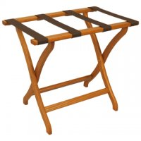 Designer Curve Leg Luggage Rack in Medium Oak - Brown Straps