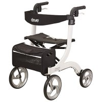 Nitro White Aluminum Rollator Walker / Seat with 10 inch Front Wheels