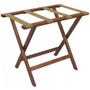Deluxe Straight Leg Luggage Rack in Mahogany - Tan Straps