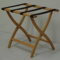 Designer Curve Leg Luggage Rack in Light Oak - Brown Straps