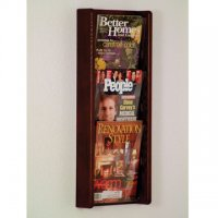 3 Pocket Solid Oak and Acrylic Literature Wall Display Rack - Mahogany