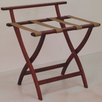 Mahogany Luggage, Suitcase, or Briefcase Rack - Tan Straps