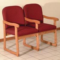 Office Waiting Room Two Seat Chair w/Center Arms - Medium Oak - Arch W