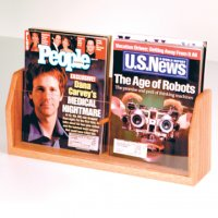 Countertop 2 Pocket Magazine Display - Light Oak
