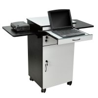 Lockable Multi-Media Workstation with Keyboard Shelf / Side Shelves / Drawer and Cabinet