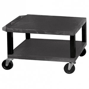 16 Inch Black 2 Shelf Mobile Plastic Rolling Utility Cart