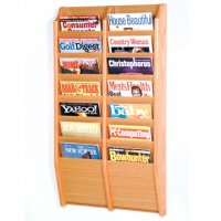 14 Pocket Wall Mount Magazine Rack - Light Oak