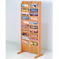 Free Standing 20 Pocket Magazine Rack - Light Oak