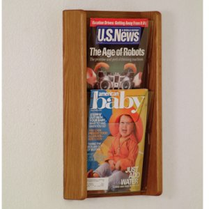 2 Pocket Medium Oak and Acrylic Literature Wall Display Rack