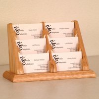6 Pocket Countertop Business Card Holder - Light Oak