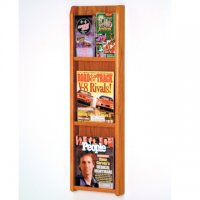 3 Magazine/6 Brochure Wall Display with Brochure Inserts - Medium Oak