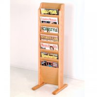 Free Standing 7 Pocket Magazine Rack - Light Oak
