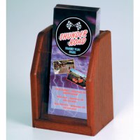 Countertop 1 Pocket Brochure Display - Mahogany