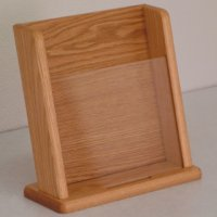 Countertop Literature Display with Business Card Pocket - Light Oak