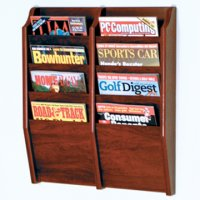 8 Pocket Wall Mount Magazine Rack - Mahogany
