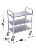 3 Shelf Stainless Steel Rolling Utility Cart - L100S3