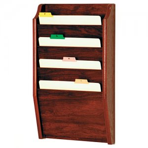 Chart and File Rack/Holder, Tapered Bottom Wall Mounted, 4 Pocket, Letter Size, Oak Wood Finish