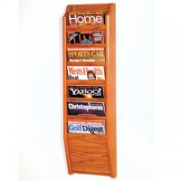 7 Pocket Wall Mount Magazine Rack - Medium Oak