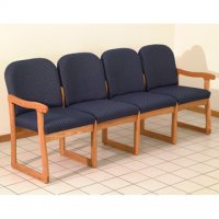 Office Waiting Room Four Seat Sofa - Medium Oak - Arch Blue