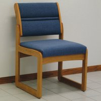 Reception and Waiting Room Armless Guest Chair - Medium Oak - Powder Blue