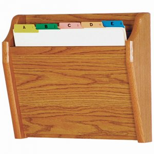 Chart and File Holder, Tapered Bottom Wall Mounted, 1 Pocket, Letter Size, Oak Wood Finish