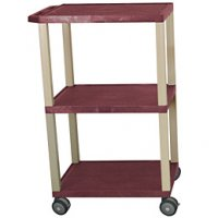 42 1/2 Inch 3 Shelf Mobile Plastic Rolling Utility (Service) Cart