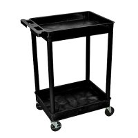 Rolling 2 Shelf Heavy Duty Plastic Utility Cart with Wheels