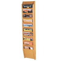 10 Pocket Wooden Wall Mount / Display Magazine or Literature Rack