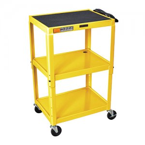 Yellow Adjustable Audio Visual (AV) Utility Cart With 3 Shelves