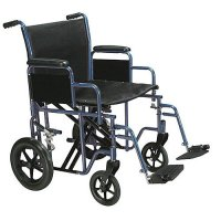 22 Inch Width Bariatric Transport Wheelchair - Swing-away Footrest