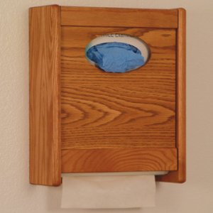 Combo Towel Dispenser & Glove/Tissue Holder - Medium Oak