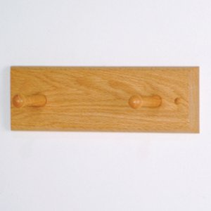 2 Peg Coat Rack with Wood Pegs - Light Oak