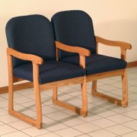 Office Waiting Room Two Seat Chair w/Center Arms - Medium Oak - Arch B