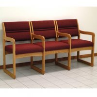 Reception and Waiting Room Three Seat Chair w/Center Arms - Medium Oak - Cabe